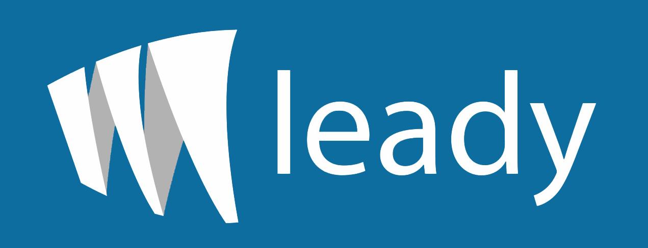 Logo branco sobre azul sistema leady