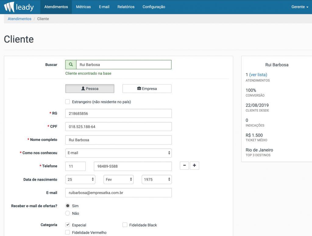 Leady - Formulário de cadastro de cliente