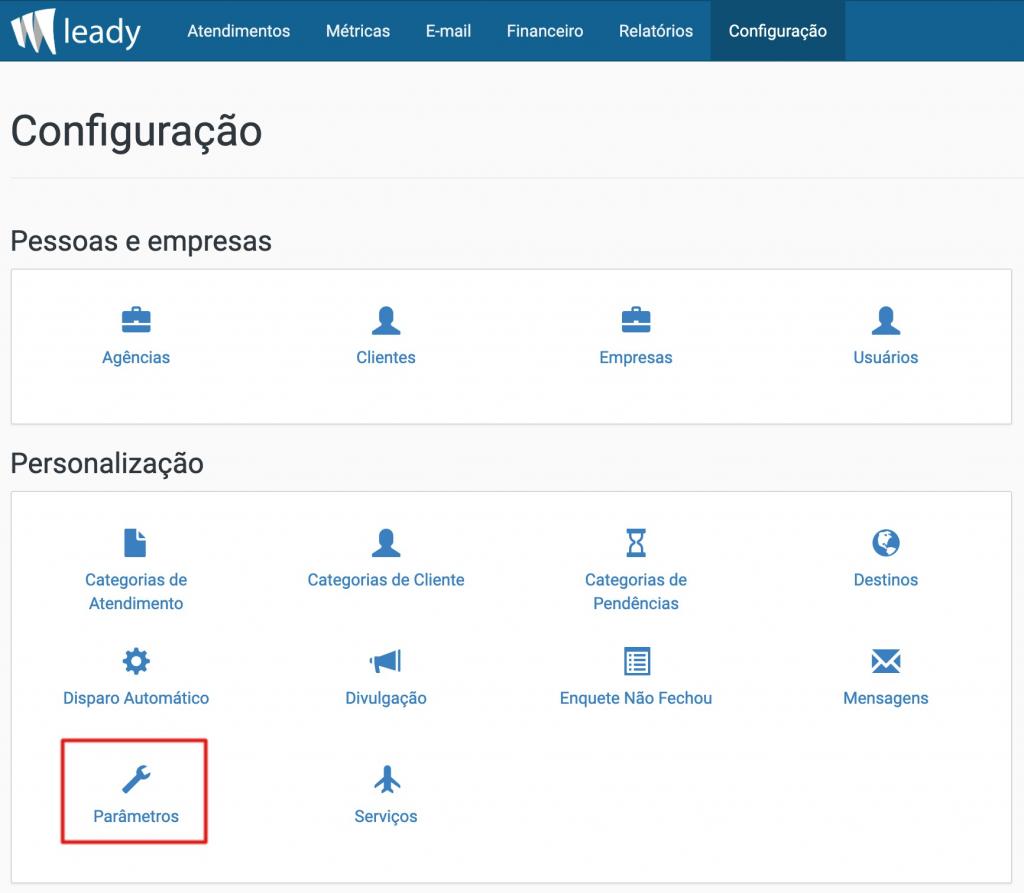 sistema-leady-configuração-parâmetros-agência-indireta
